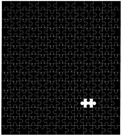 lugs: A black and blank jigsaw with one piece missing  Isolated on white  Illustration