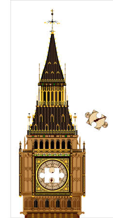A detailed illustration of the Big Ben clock face and roof with a jigsaw piece missing Stock Vector - 24427892