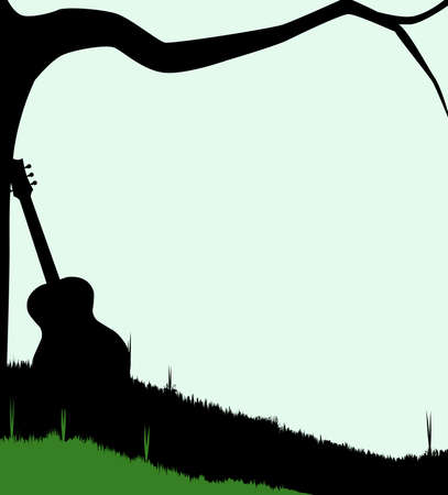 hollow body: Silhouette of a branch stretching out over a meadow with the silhouette of a guitar