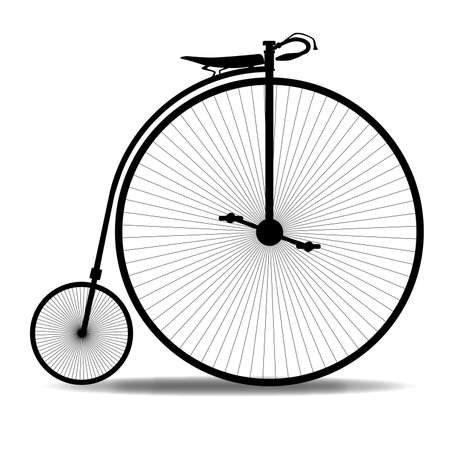 A typical penny farthing bicycle over a white background  Vector