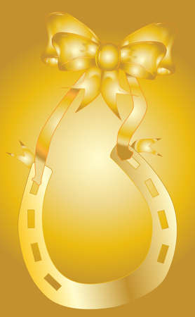 good luck charm: Gold horseshoe with golden ribbon with a golden background