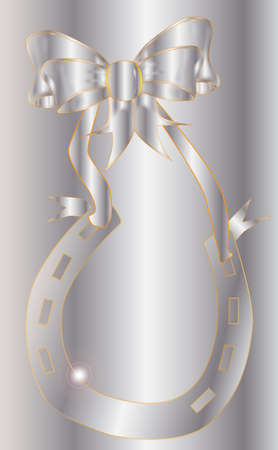 Silver horseshoe with silver ribbon with a silver background  Vector