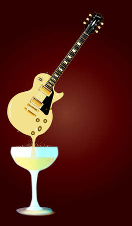 headstock: A rock guitar melting down into a glass of wine