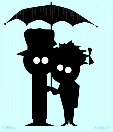 Silhouette of a cartoon character holding the hand of his girl friend in a rainstorm Vector