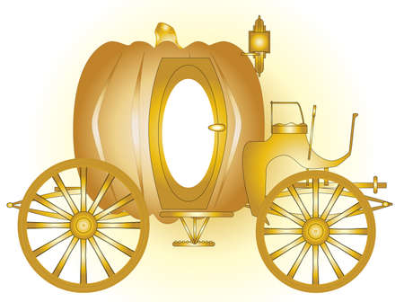 A magic fairy tale carriage in gold  Vector