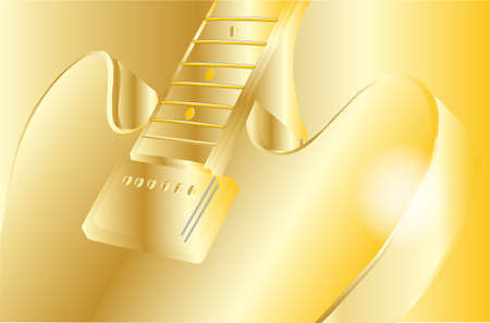gibson: A classic, typical jazz and blues guitar in gold on a gold background