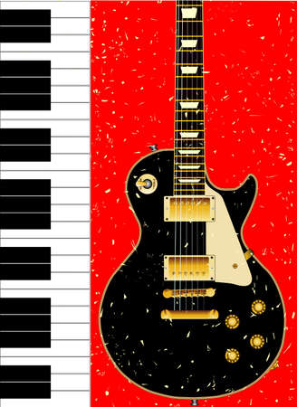 gibson: Black and white piano keys set against a background with a guitar and grunge effect  Illustration