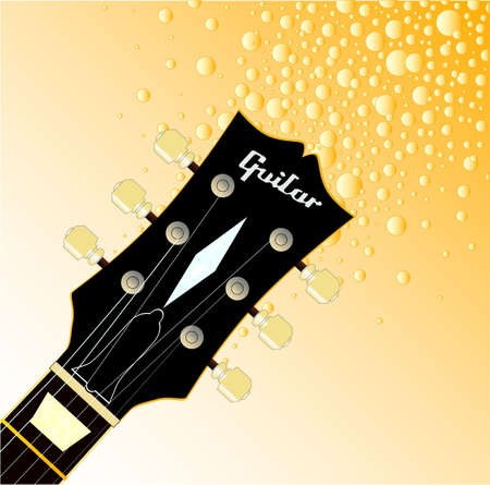 headstock: A traditional guitar headstock with strings and tuners giving of golden fizz