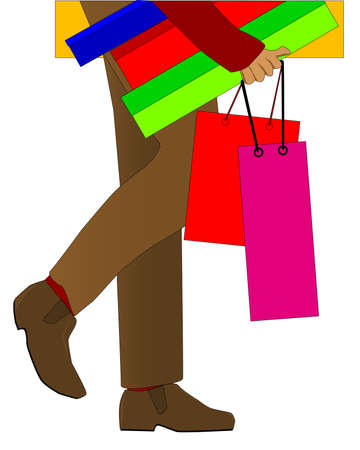 heals: A man shopping burdened with parcels