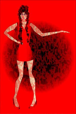 leggy: A dancer behind a red grunge background  Illustration