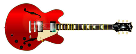 A Gibson ES 335semi acoustic type guitar set in a white background