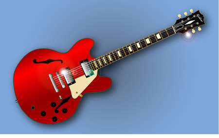 gibson: A Gibson ES 335 type guitar set in blue background