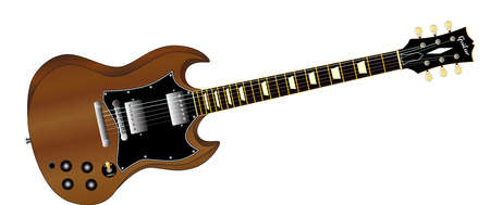 sg: A solid body electric guitar set in a white background  Illustration