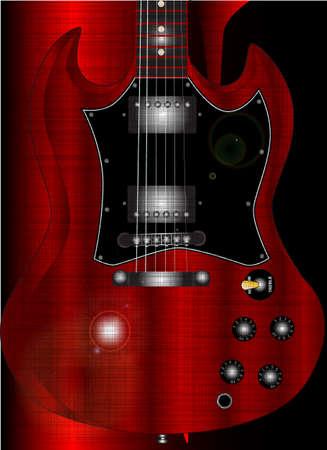 cutaway drawing: Una chitarra corpo solido con le corna dal collo in gi�