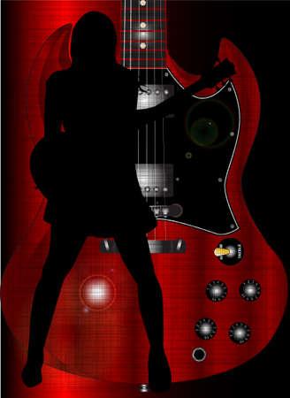 cutaway drawing: Una chitarra corpo solido interpretato da un rocker ragazza impostato su una stretta della sua chitarra elettrica