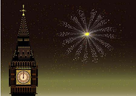 fin de a�o: Fin de a�o en Londres con el Big Ben y un cohete del cielo Vectores
