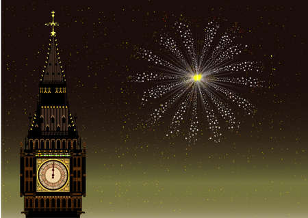 london night: new years eve in London with Big Ben and a sky rocket Illustration