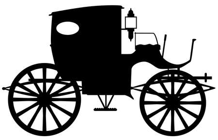 A typical Victorian or Georgian style carriage in silhouette