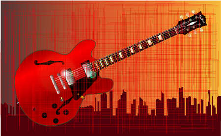 A semi solid guitar set in a city grunge background Vector