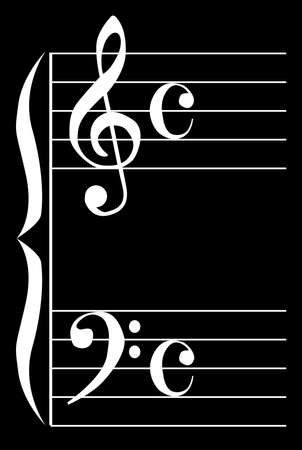 The bass and treble clef over black