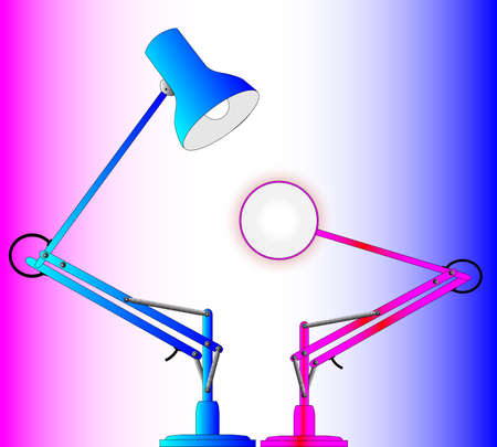 poise: A pair of angle poise lamps Illustration