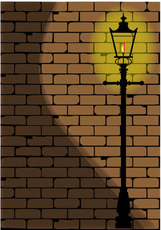 dim: A typical old London gaslight set against a worn brick wall with shadow