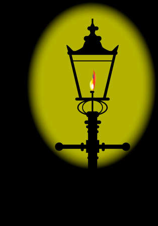 dickensian: A typical old London gaslight with flame and glow