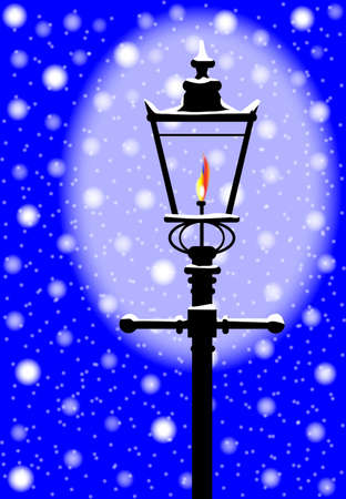 edwardian: A typical old London gaslight with flame and glow