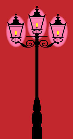 dickens: A typical old London gaslight with three flames