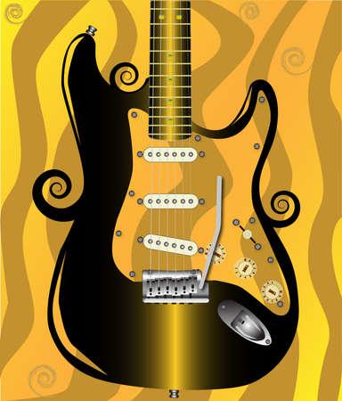pickups: Una chitarra elettrica n con uno sfondo ricciolo