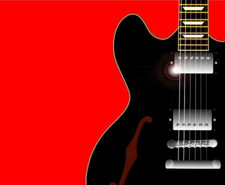 gibson: A black semi acoustic type guitar set in a red background Illustration