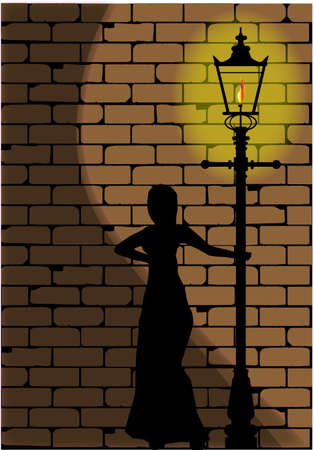 dickens: A typical old London gaslight set against a worn brick wall with shadow of a Victorian woman
