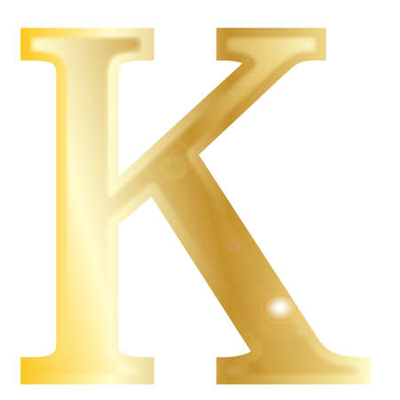 alphabet greek: Kappa - a letter from the Greek alphabet isolated over a white  Illustration