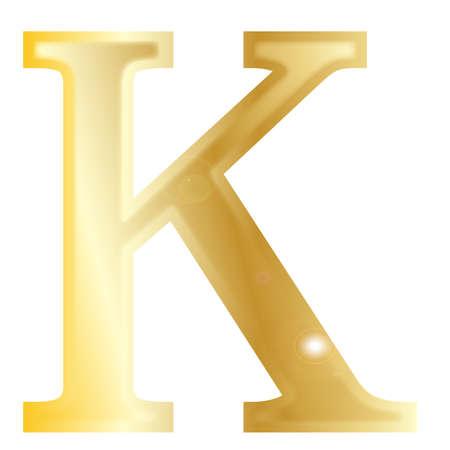 archaeological: Kappa - una carta del alfabeto griego aislado en un fondo blanco Vectores