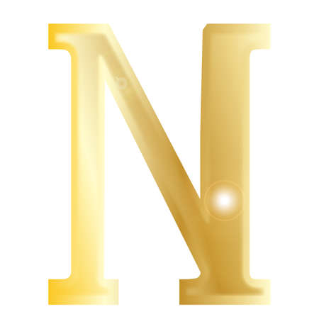 alphabet greek: Nu - a letter from the Greek alphabet isolated over a white
