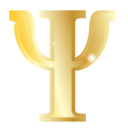 alphabet greek symbols: Psi- a letter from the Greek alphabet isolated over a white