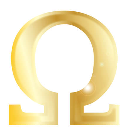 archaeology: Omega- a letter from the Greek alphabet isolated over a white