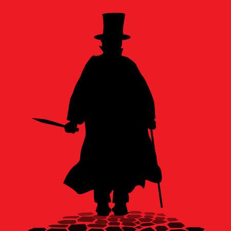 prostitue: Jack the Ripper op de klinkerstraatjes van Londen Stock Illustratie