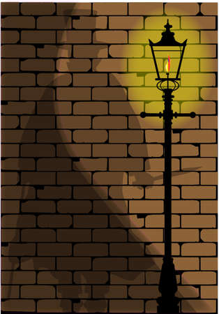 The shadow of Jack the Ripper on an old Victorian wall  Vector