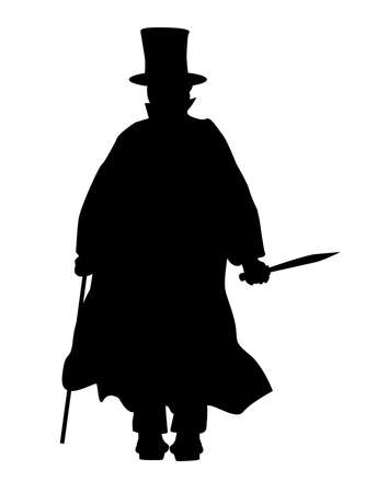 Jack the Ripper in silhouette over a white background