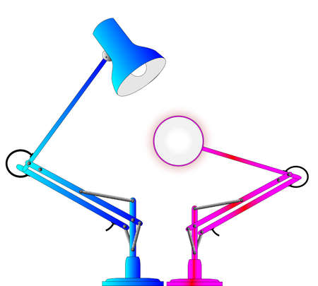 poise: A pair of angle poise lamps isolated on a white background  Illustration