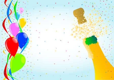 popping cork: Multi coloured balloons, confetti and streamers and a champagne bottle
