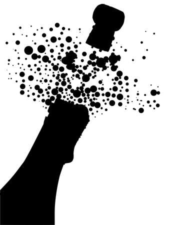 Champagne bottle being opened with froth and bubbles in silhouette over white