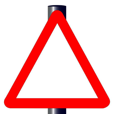 The traditional triangle but blank traffic sign isolated on a white background   Stock Vector - 24870681