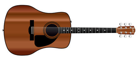 fingerboard: A typical acoustic guitar isolated over a white background  Illustration