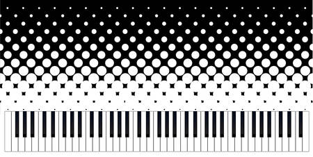 synthesiser: Black and white piano keys set against a black and white grunge background