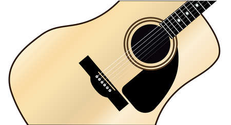 fretboard: A typical acoustic guitar isolated over a white background  Illustration