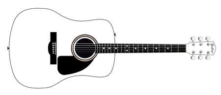 Eine weiße akustische Gitarre über einem weißen Hintergrund Vektorgrafik