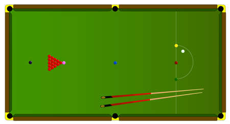 pool cues: A typical full size snooker table with balls and snooker cues  Illustration