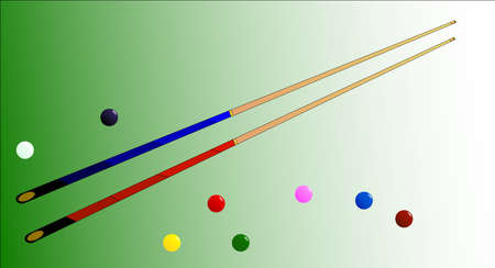 snooker cues: Two snooker cues with several coloured balls Illustration
